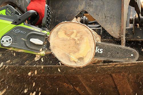 Greenworks gmax wood cutting