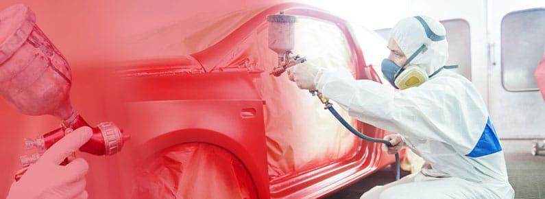 Water-based paints in spray gun
