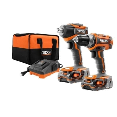 Ridgid R9603 Drill Driver and Impact Driver Combo Kit