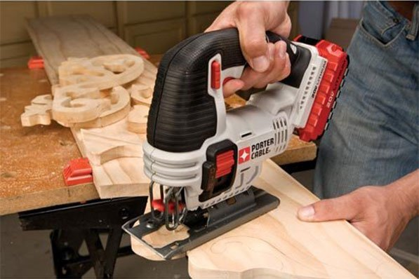 Man Using PCC650 Jigsaw For Cutting Wood