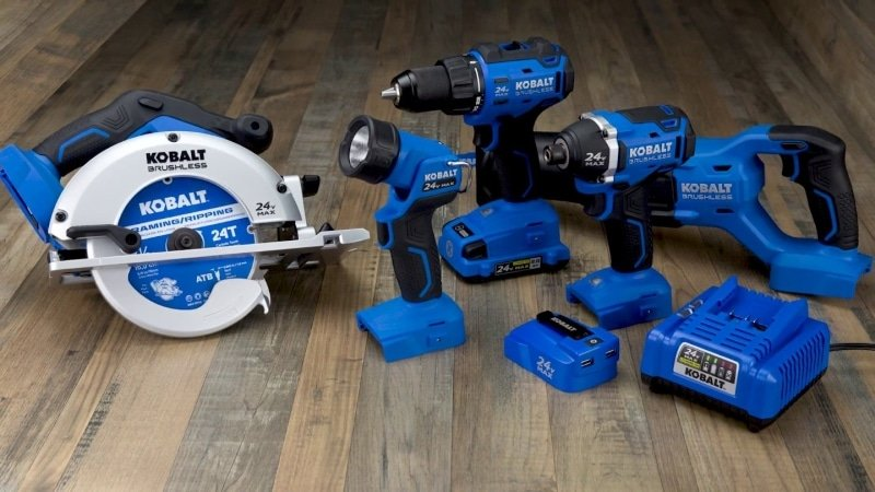 Kobalt 6-Tool 24-volt Max Lithium Ion Cordless Combo Kit Tools on the wooden table