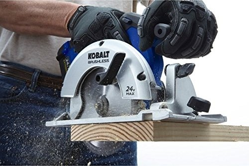 A man working with Kobalt Cordless Circular Saw Brake