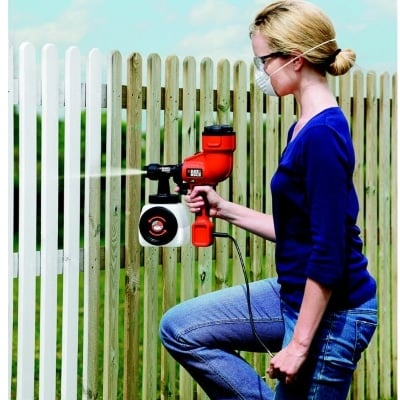 women painting a fence