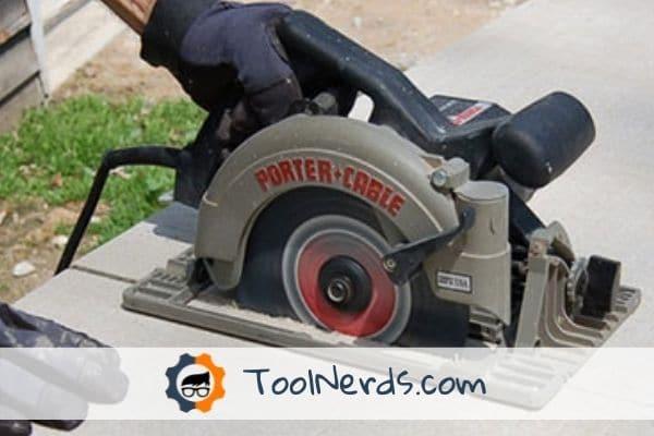 cutting concrete with a circular saw.